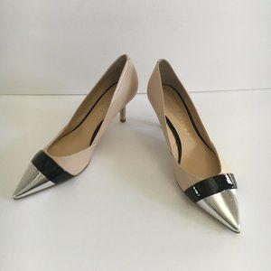 Ivanka Trump Nude Leather Silver Cap Toe Pumps